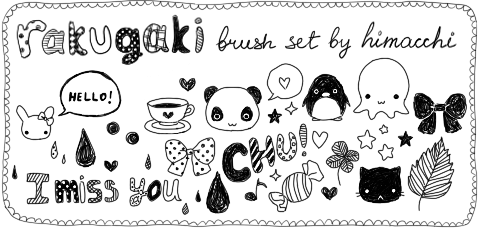 超可爱日系童趣手绘涂鸦Photoshop呆萌元素笔刷