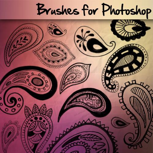 精美手绘的佩斯利花纹Photoshop图案笔刷素材下载