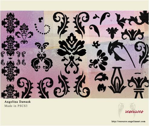 华贵的植物印花图案PS笔刷下载 艺术花纹笔刷 植物花纹笔刷 印花笔刷  flowers brushes