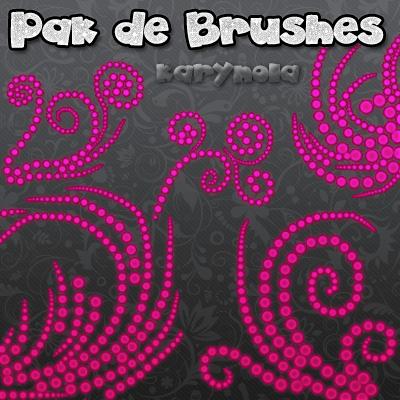 漂亮的点状式漩涡植物印花图案PS花纹笔刷素材
