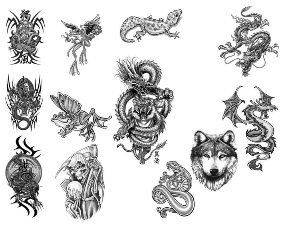 恐怖纹饰、刺青宗教神话中的纹身骷髅头、恶龙、魔龙刺青图案PS笔刷素材