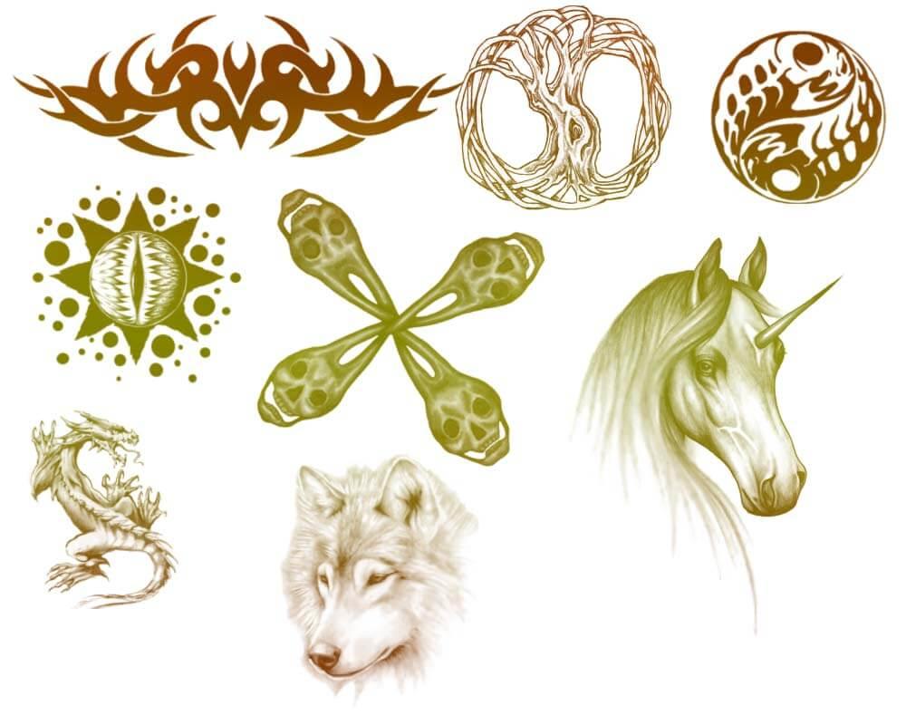 恶魔纹身、独角兽、雪狼、恶龙徽章图案PS笔刷素材下载