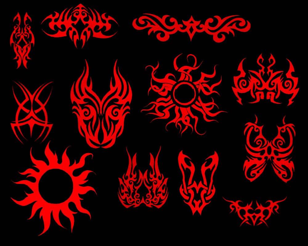 火焰风格的花式神秘图腾刺青、纹饰图案Photoshop笔刷素材 火焰纹饰笔刷 火焰纹身笔刷  adornment brushes
