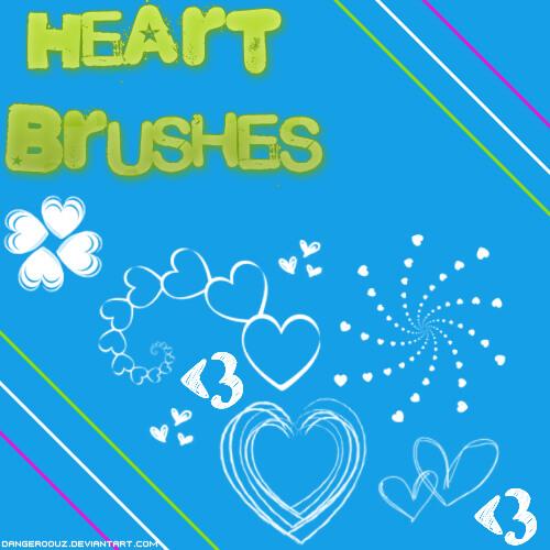 炫酷爱心图案、情人节心形装饰PS笔刷素材 爱心笔刷 情人节笔刷 心形笔刷  love brushes