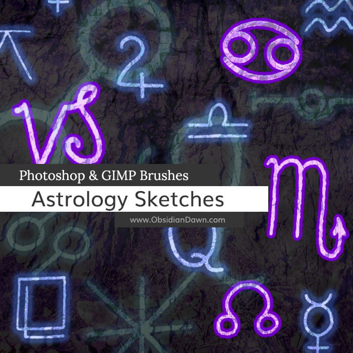 神秘外星人符号图形Photoshop笔刷素材下载