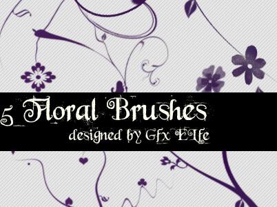 5种随意手绘的鲜花图案PS笔刷素材下载