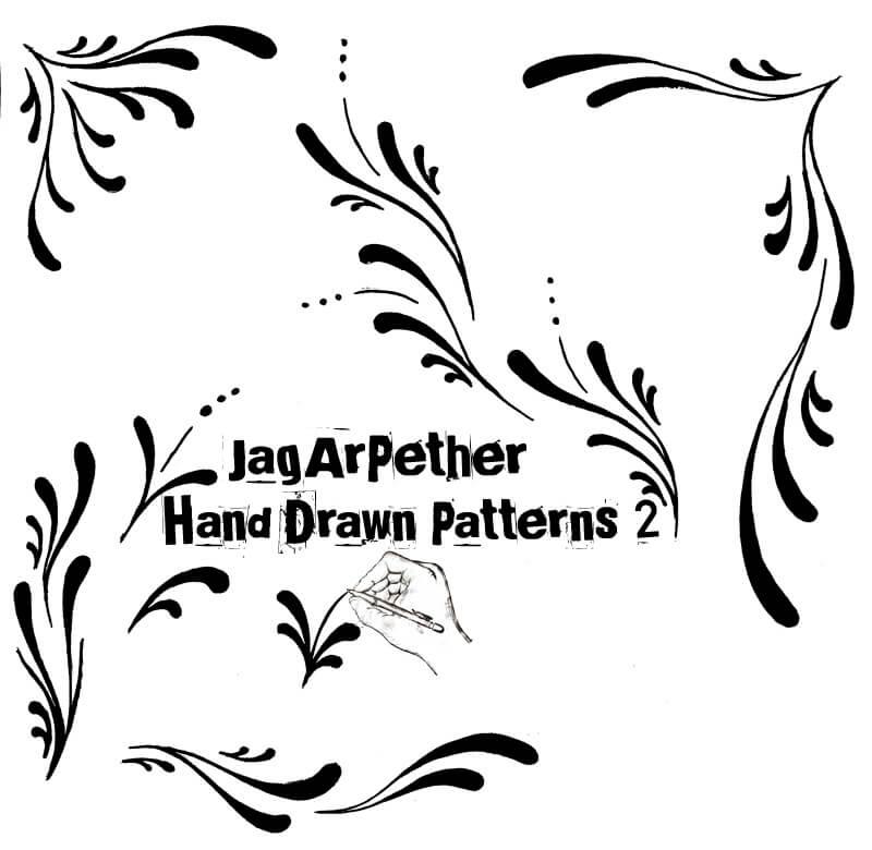 手绘涂鸦式植物式印花图案Photoshop笔刷素材#.2