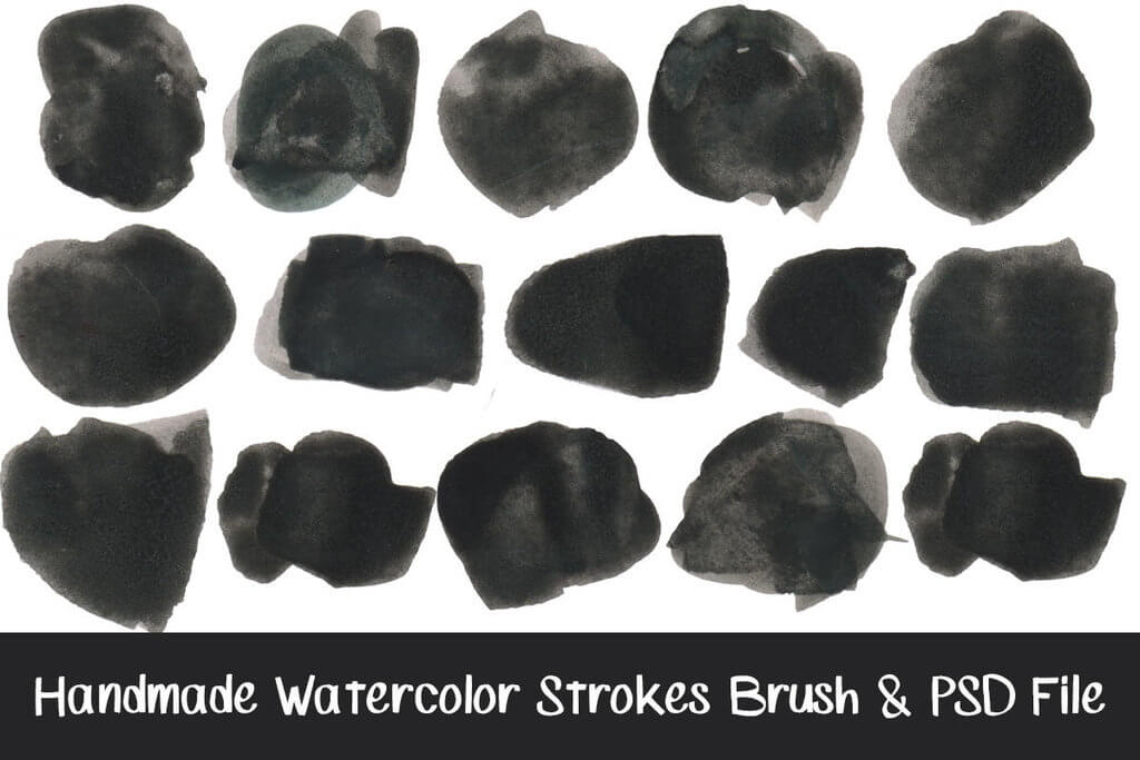 12种高清水墨、水彩涂抹笔迹PS笔刷素材下载(含PNG高清单个素材) 水彩笔刷 水墨笔刷  photoshop brush