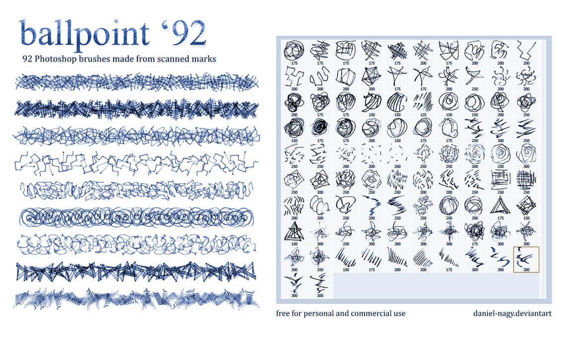 92种不同的细笔触涂鸦划痕纹理Photoshop笔刷素材 笔触笔刷  photoshop brush