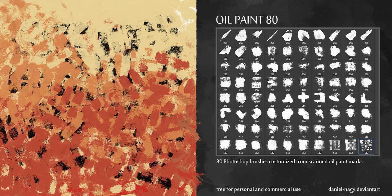 80种油漆刷子、油画笔触涂抹效果PS水彩画笔笔刷素材 油画笔刷 刷子笔刷  %e6%b2%b9%e6%bc%86%e7%ac%94%e5%88%b7