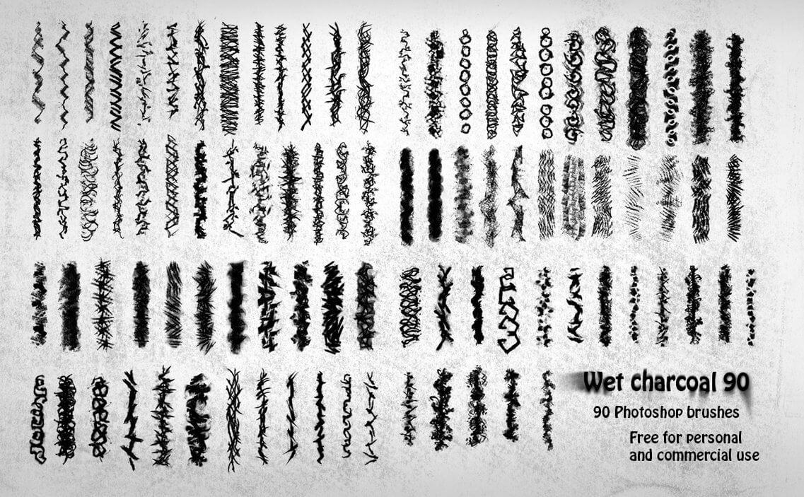 90种碳素笔涂抹、铅笔蜡笔划痕效果Photoshop笔刷素材下载