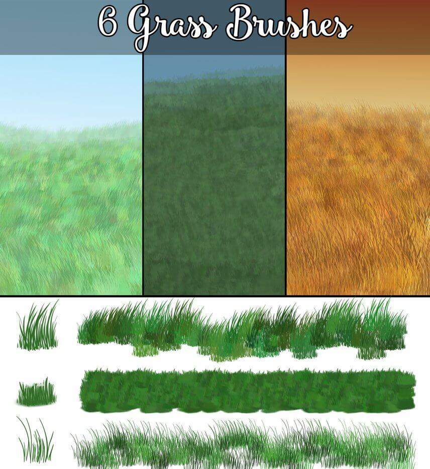 6种青草、草丛笔触Photoshop画笔笔刷素材