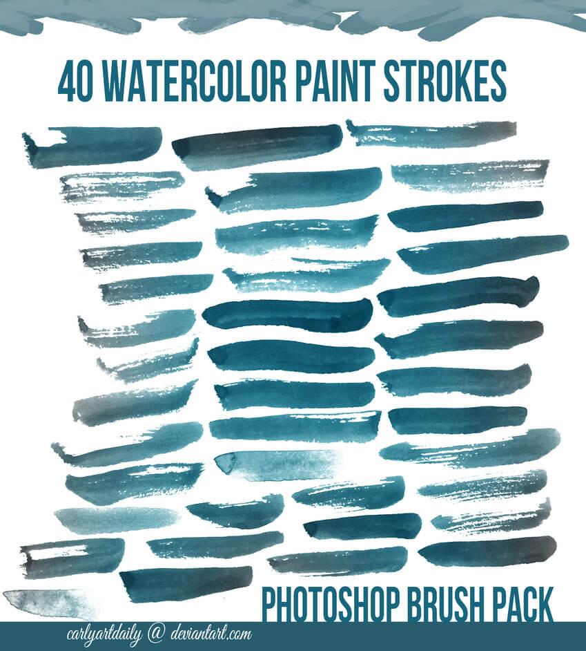 40种水彩画笔划痕效果Photoshop水彩笔刷素材下载