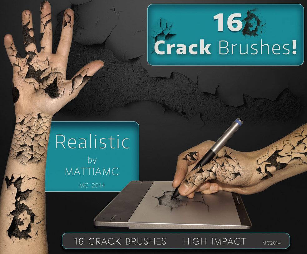 16种裂纹、墙壁地面龟裂效果PS干涸开裂笔刷素材