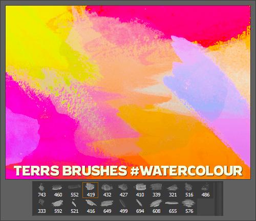 水彩涂抹效果PS笔刷素材下载