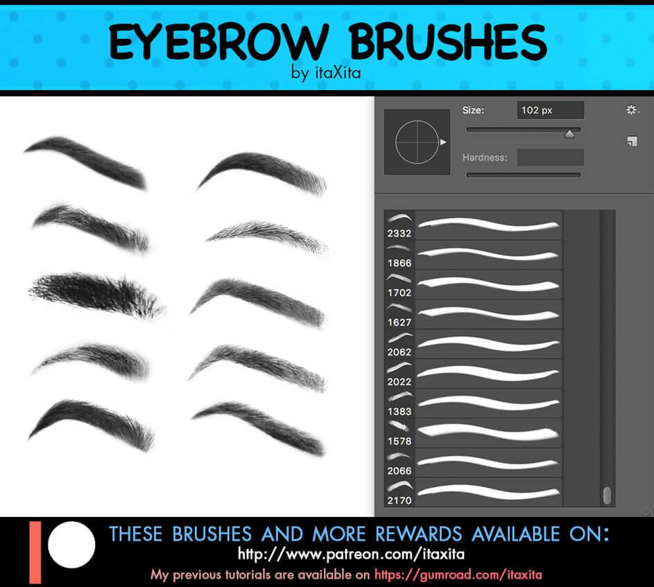 一组漂亮的性格女性眉毛效果PS化妆笔刷 眉毛笔刷 化妆笔刷  characters brushes