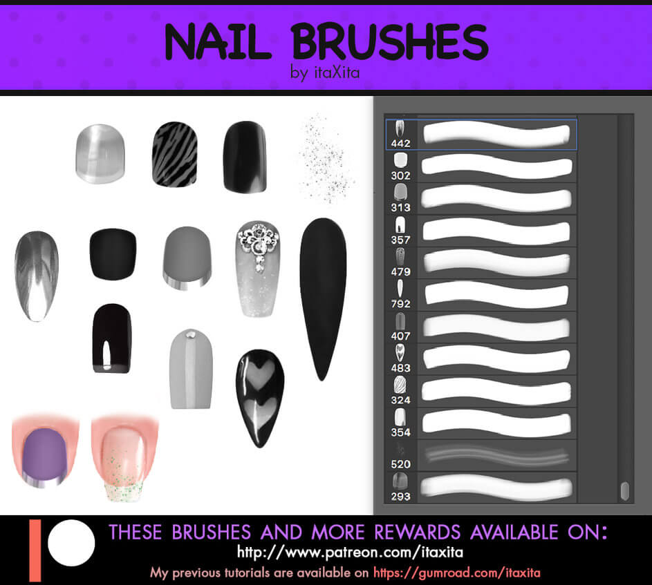 时尚靓丽的女性指甲装饰、亮甲、美甲Photoshop笔刷素材下载 美甲笔刷 指甲笔刷  characters brushes