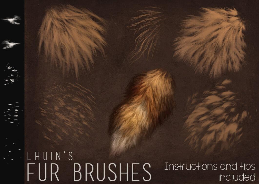 高级皮毛、毛发纹理、绒毛材质画笔PS绘画笔刷素材