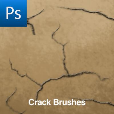 地面裂纹、龟裂纹理图案PS笔刷素材下载