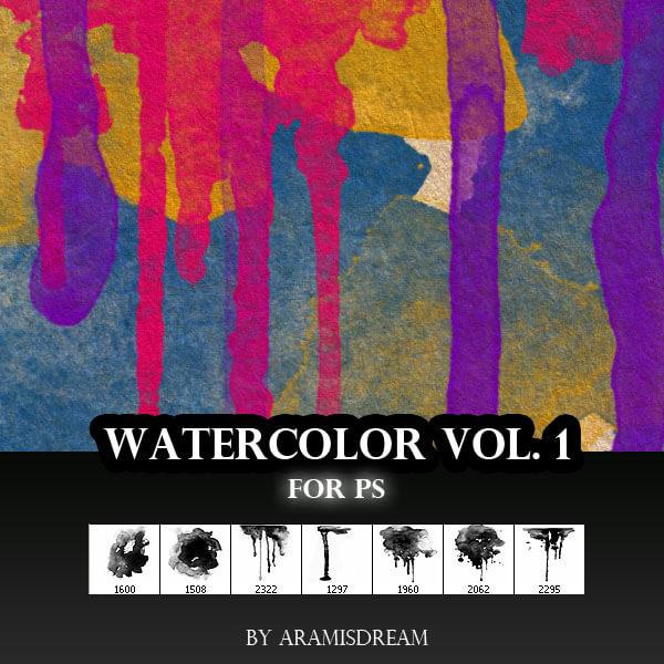 7种油漆、油墨滴溅、喷溅图案PS油漆笔刷素材下载