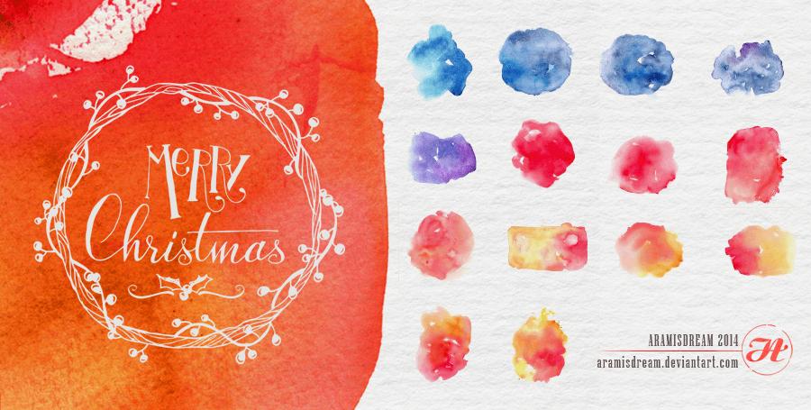 高清圣诞水彩涂抹纹理PS笔刷素材下载(JPG图片格式)