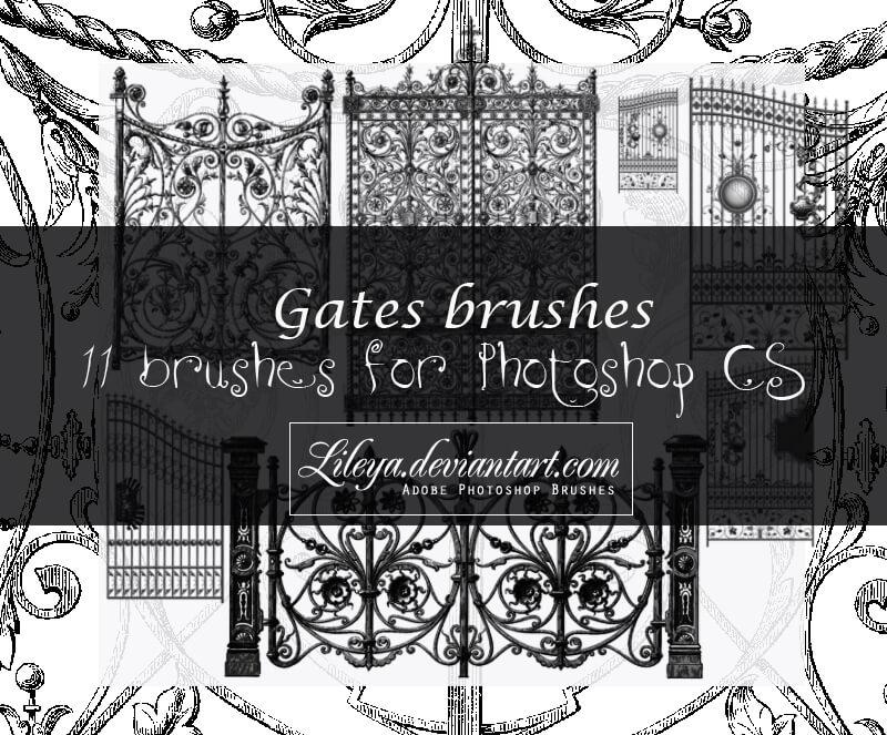 11种欧式铁门、铁艺花纹图案PS笔刷素材