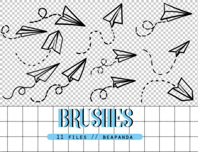 可爱的飞机标识图案PS笔刷素材免费下载