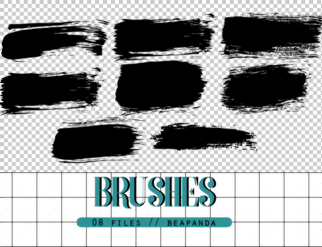 毛笔划痕、刷子划痕Photoshop笔刷素材下载