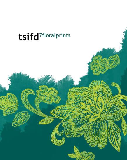 手绘的繁复鲜花花朵印花图案笔刷PS素材