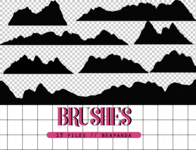 13种山脉剪影造型图案PS笔刷素材下载 自然笔刷 山脉笔刷 大山笔刷 剪影笔刷  other brushes