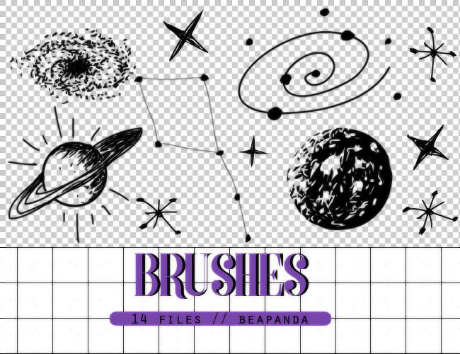 涂鸦宇宙元素星球、星星图案Photoshop卡通笔刷素材