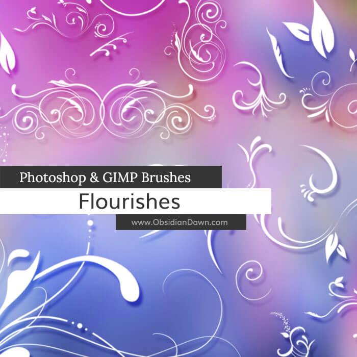 漩涡风格式植物印花图案Photoshop笔刷素材下载