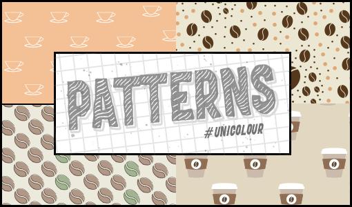 可爱的咖啡豆、咖啡杯、纸杯咖啡图案Photoshop填充图案底纹素材(PNG图片格式)