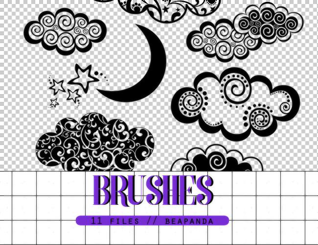 11种可爱卡通云朵、月亮、星星装饰图案Photoshop笔刷素材下载