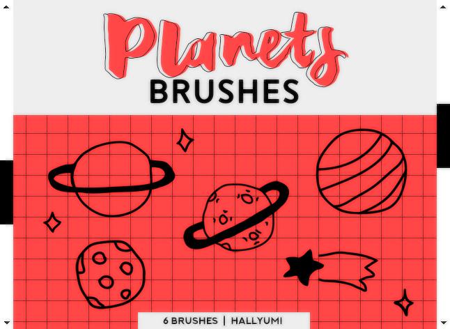 6种可爱童趣手绘星球图案、卡通宇宙涂鸦Photoshop笔刷素材下载