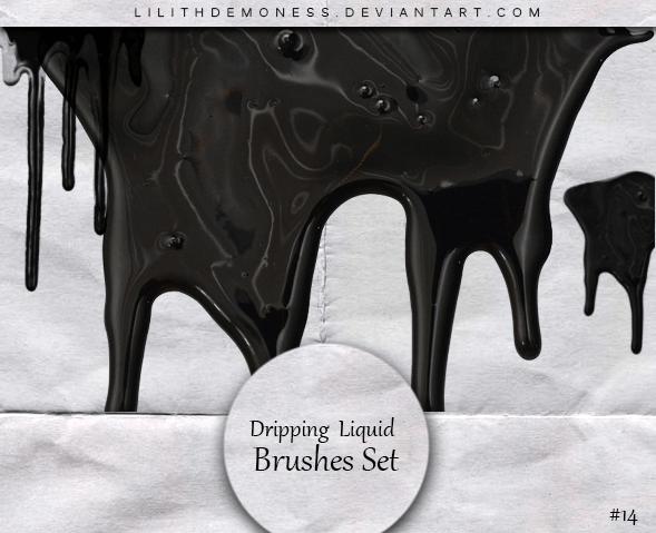 浓稠的液体滴溅、流失效果、血液、颜料油漆流动PS笔刷素材