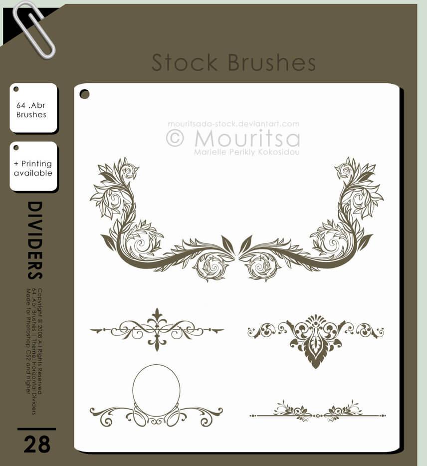 漂亮优美的植物印花图案、高贵优雅的花纹装饰PS笔刷素材下载