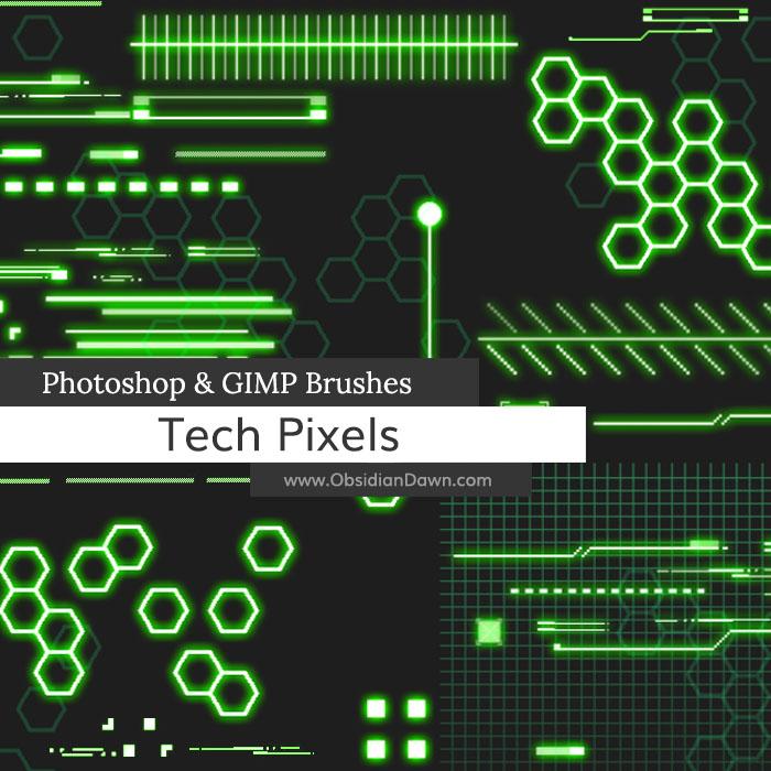 科技元素、未来科幻装饰图案Photoshop笔刷素材下载