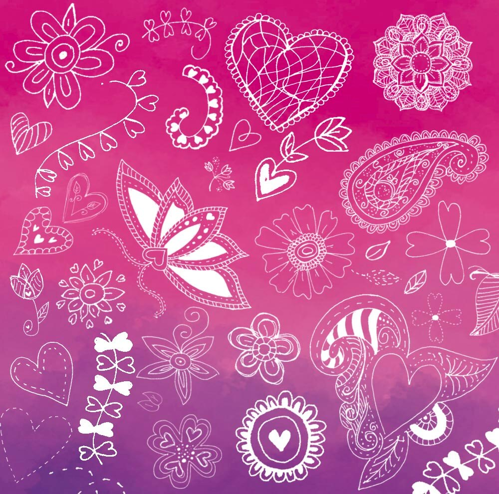 可爱的童趣手绘涂鸦花纹装饰图案Photoshop印花图案笔刷