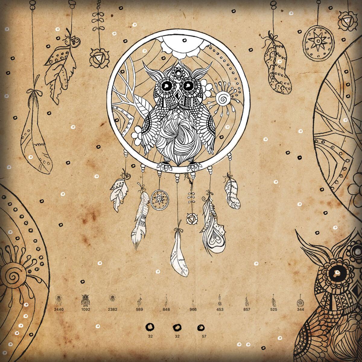可爱的手绘猫头鹰图案、羽毛挂饰PS美图笔刷