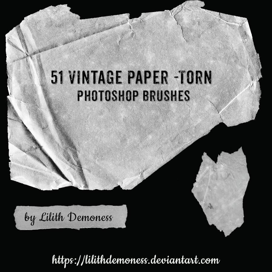 51种高品质撕纸效果、旧的纸张纹理、羊皮纸PS纸张笔刷素材下载