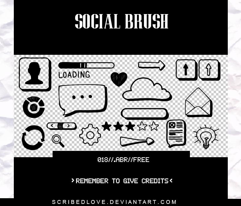 社交媒体类标志图案PS笔刷素材下载