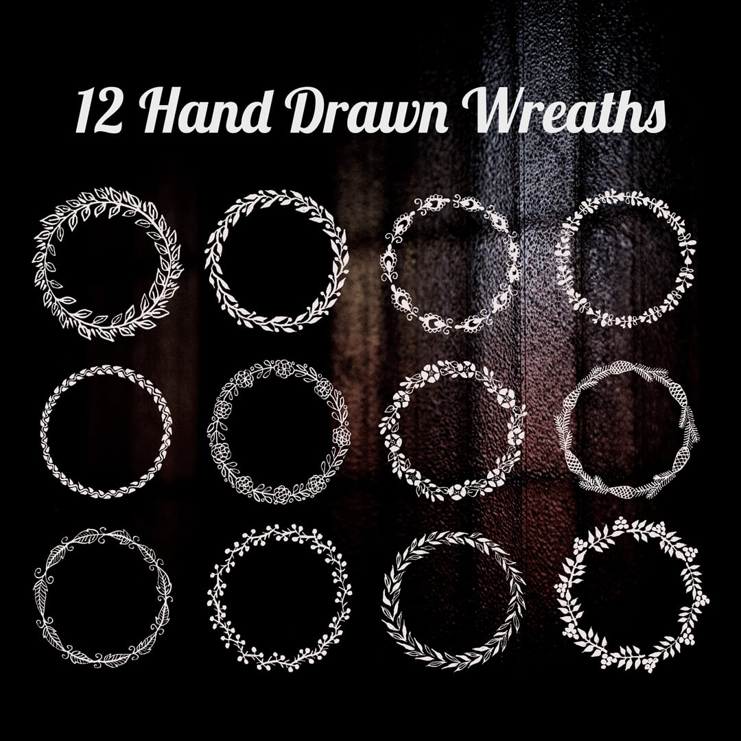 12种优美的植物枝条编制的花环、花圈图案PS笔刷素材下载