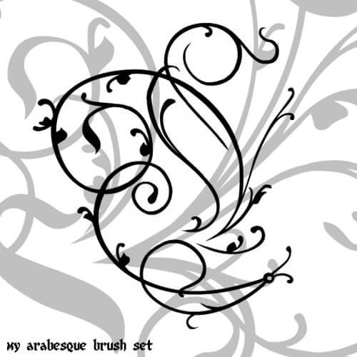 漂亮的枝条、藤蔓、常青藤花纹艺术PS笔刷素材下载