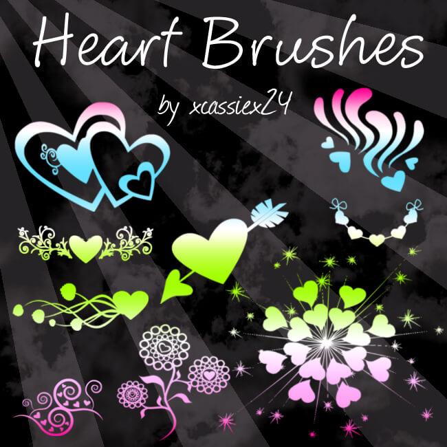 非主流时尚爱心花纹图案、植物印花图案Photoshop笔刷素材下载