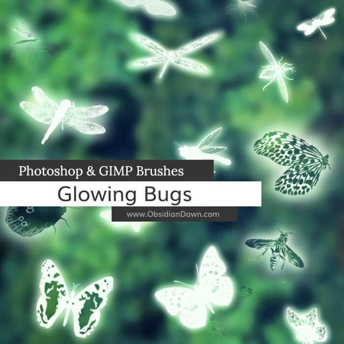 昆虫图案、蚊子、蜻蜓、蝴蝶、蜜蜂PS笔刷素材下载