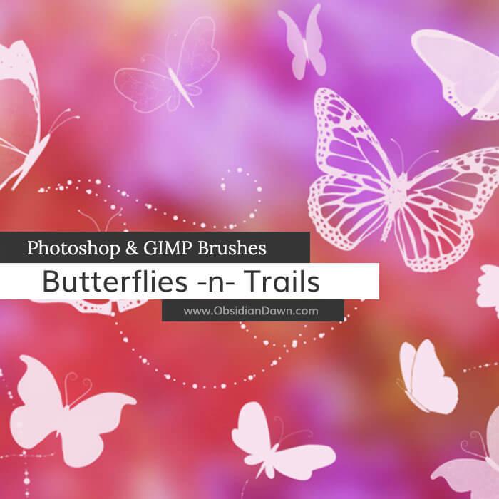 漂亮的蝴蝶印花图案PS笔刷素材下载
