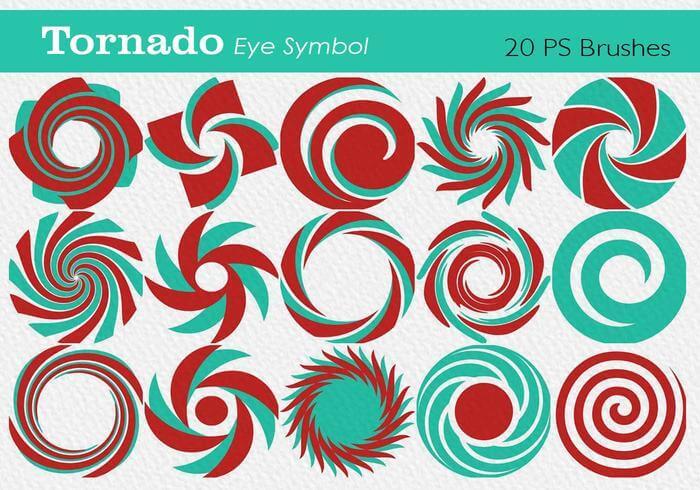 20种龙卷风眼效果旋转花纹图案PS笔刷素材下载