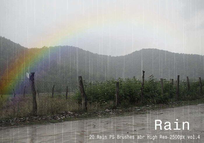 20种下雨场景效果PS雨纹理笔刷素材下载