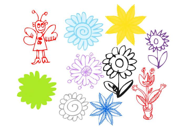 可爱的童趣手绘花纹涂鸦PS笔刷素材下载